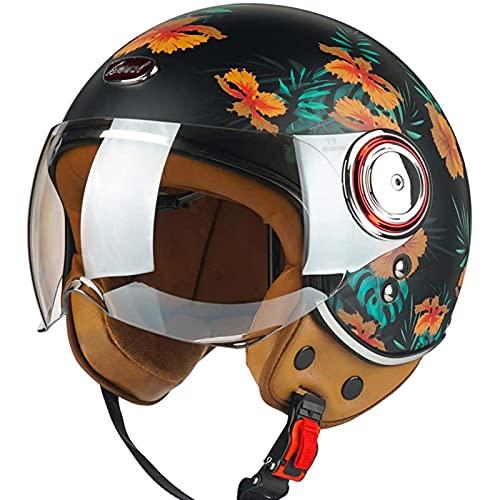 Classic Vintage Medio Casco,Material ABS Transpirable Confortable Forro Extraíble Lavable Certificación ECE Apto para Motocicletas Casco de Motocicleta Vintage B,L57~58CM