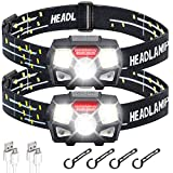 STURME Rechargeable Headlamp Flashlight 2 Pack 800 Lumens Bright LED Headlamp with Red Light and Motion Sensor 5 Modes Camping Hiking Running Headlamps for Adults Kids