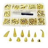 Metallische Spikes für Kleidung, solide, schnelle Nieten, Punk, Kegel, Nieten, DIY, Lederhandwerk, handgefertigt gold