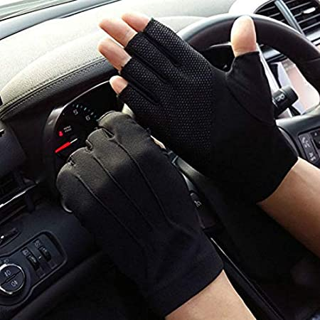 Dgtyui /Guanti da guida antiscivolo senza dita da uomo Guanti da donna per protezione solare Guanti da ciclismo anti-UV traspiranti sottili maschili estivi Beige X Taglia unica