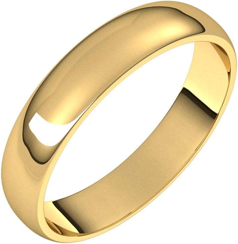 Diamond2Deal 10K Yellow 4 mm Half Ranking TOP18 Light Round Wedding Ring Band safety