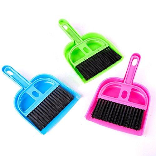 Greenlans Mini-Kehrschaufel- und Kehrbesen-Set aus Kunststoff, praktischer Reinigungsbesen für Haustiere, Haushaltsgeräte, zufällige Farbe