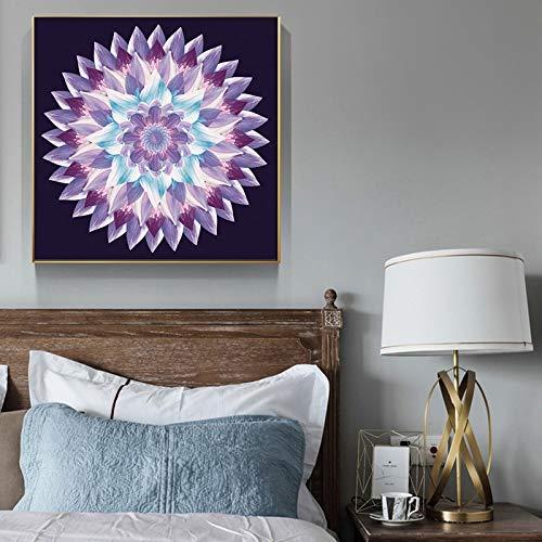 YuanMinglu Rahmenlose Malerei Moderne abstrakte Wandbild Poster und Drucke Leinwand Blumen Farbverlauf Mandala Wohnzimmer dekorative Malerei 70x70cm