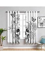 Día de los Muertos Decoración Aislante para oscurecimiento de habitación con calavera, con flores y mariposas, impresión gótica vintage, protección de privacidad en blanco y negro 52 x 84 pulgadas