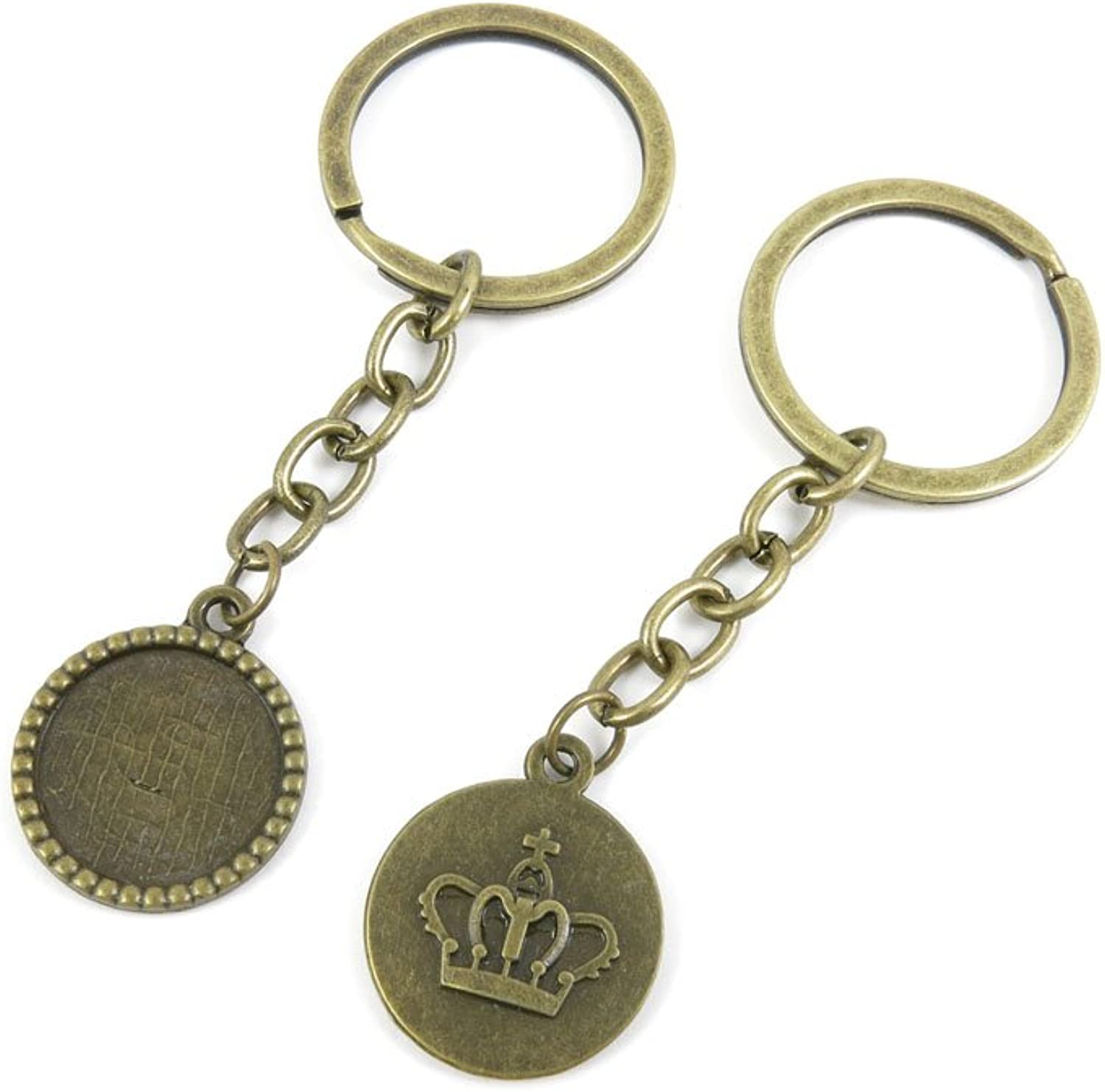 100 PCS Keyrings Keychains Key Ring Chains Tags Jewelry Findings Clasps Buckles Supplies Y2FK1 Crown Cabochon Blank Base