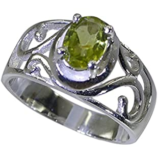 Jewelryonclick Real Oval Peridot Sterling Silver Statement Rings Prong Style Astrological Gift Sizes Y:Eventmanager