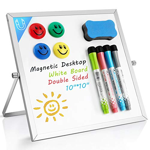 "Small Dry Erase White Board- Magnetic Desktop Whiteboard 10""X10"" with Stand, 4 Markers, 4 Magnets & Eraser- Portable Double-Sided Mini White Board Easel for Kids Students Drawing Teaching Memo Office"