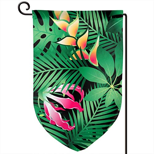 ACHOGI Tropical Hawaiian Plumeria and Hibiscus Flowers Garden Flag Outdoor Yard Decorative Flags Double Sided Priting for All Seasons & Holidays- 12.5 X 18 in