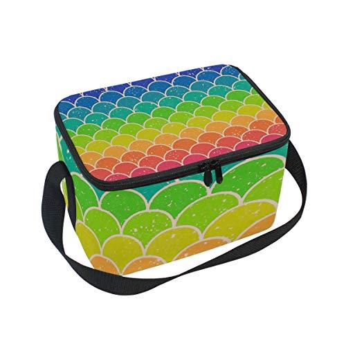 Lunchtasche, bunt, abstrakte Regenbogenfische Waage, Kühler für Picknick, Schultergurt, Lunchbox