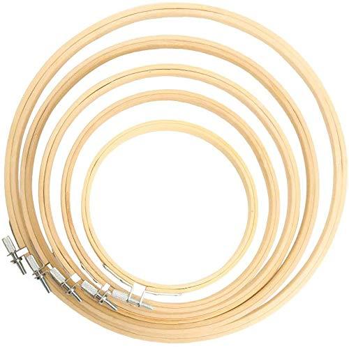 TOKERD 6 Pcs Aros Bordado Set Cruz de Bambú Redondos para Hacer Manualidades Atrapasueños Aros de Punto de Cruz Marco Bbordado Redondo para Manualidades Costura a Mano
