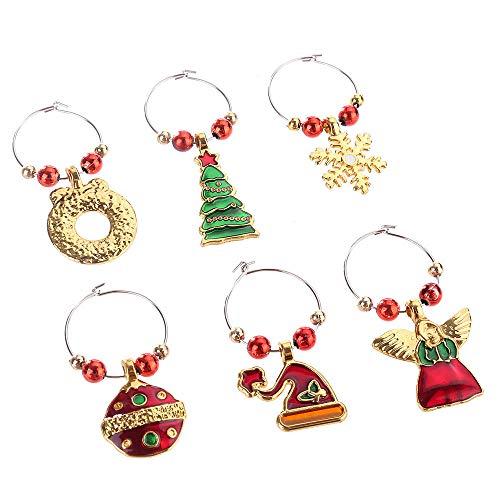 6 Piezas Navidad Copa de Vino encantos Anillo Marcador vajilla decoración, Dijes de Copa de Vino para Navidad Encanto de Copa de Vino Diferenciador Anillo Marcador