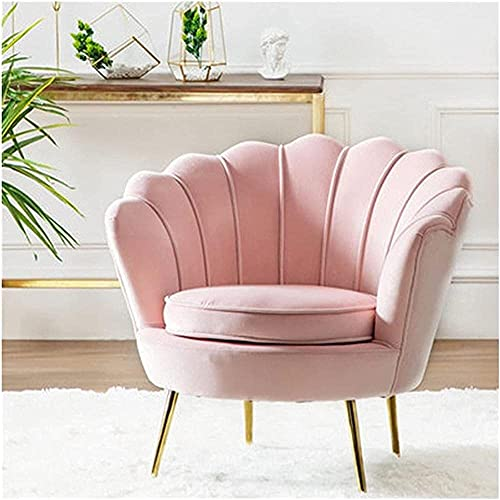IOUYRRN Modern kronbladformad sammet fat stol accent fåtölj med metallben minimalistiska soffa stolar lätt singel soffor-röd (Color : Pink)