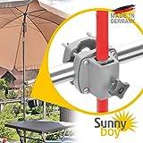 Sonnenschirmhalter Balkongeländer – Sunnyboy, der Kleine – Platzsparender Sonnenschirmständer Balkon für Schirme bis Ø 2 m – Ideal für kleine Balkone