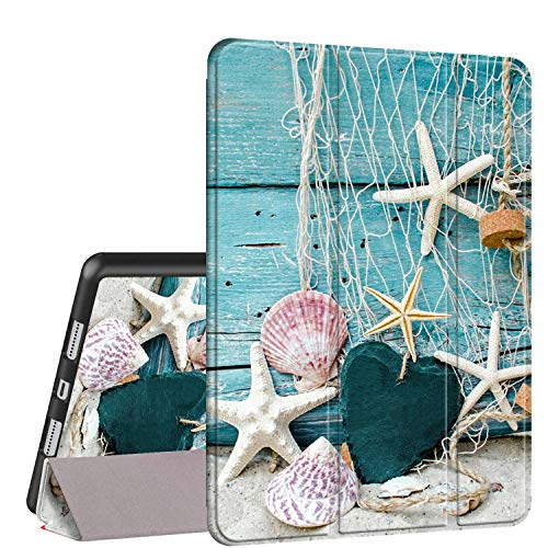 iPad 9.7 2018/2017 Case,iPad Air 2/Air Case, Rossy PU Leather TPU Shock Trifold Stand Folio Smart Cover with Auto Wake/Sleep & Pencil Holder for Apple iPad 6th/5th Gen,Beach Seashell