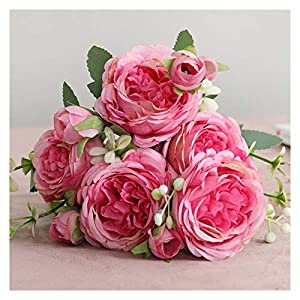 KEHUITONG SJLS Beautiful Rose Peony Artificial Silk Flowers Small White Bouquet Vases for Home Party Winter Wedding Decoration Cheap Fake Plant