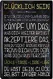 Blechschilder Cartel decorativo con texto en alemán 'Glücklich Sein .', de metal,...