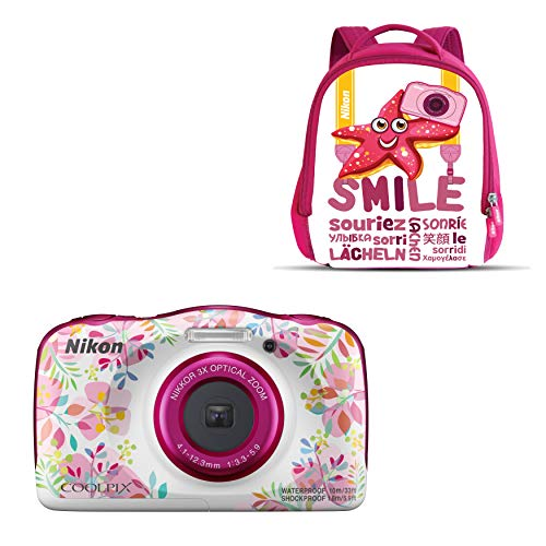 "Nikon Coolpix W 150 - Cámara digital compacta de 13.2 MP (pantalla LCD de 3"", video full HD, impermeable, estabilizador óptico) rosa/blanco"