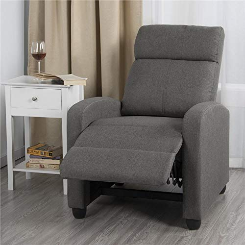 Yaheetech Fabric Recliner Sofa Reclining Glider Upholstered Sofa with Pocket Spring Living Room Bedroom Home Theater Light Gray