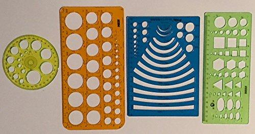 Set von 4Technische Zeichnungen Schablonen Vorlage Radius Kreis Winkelmesser & Kombination Schablone Dreieck Kreis