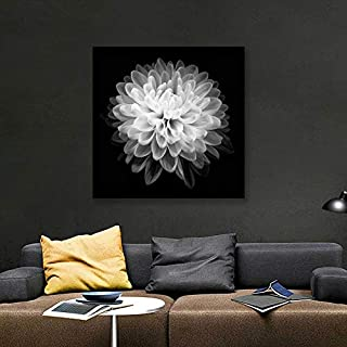 Chrysanthemum Flower Wall Art, Floral CloseUp Canvas Prints Modern Art Black and White Botanical Photography - 16x16 inches
