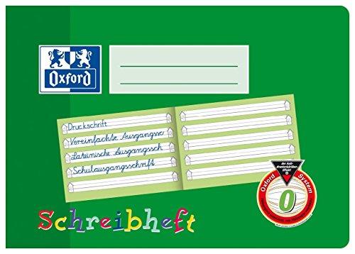 Oxford Schreibheft A5 quer, Lineatur 0 (1. Klasse) Schulheft mit 16 Blatt, grün, 10er Pack