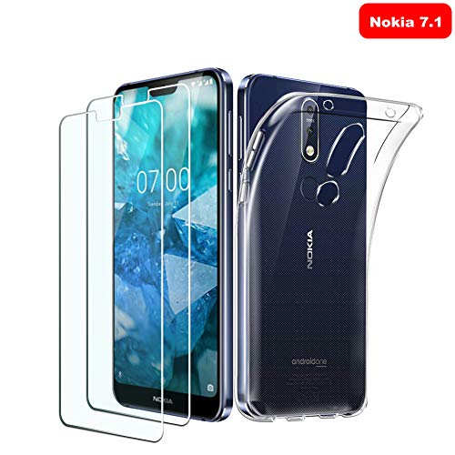KATIAN [2-Stück] Panzerglas & [1-Stück] Hülle für Nokia 7.1, Ultra Dünn Folie 9H Hartglas Glasfolie schutzfolie, kratzerfest, Blasenfreie panzerglasfolie & TPU case Transparent Handyhülle