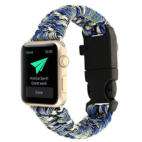 BCHSCB Für Apple Watch Series 1/2/3/4 42mm, High Strength Nylon Rope Bracelet Watch Ersatzgurt Band mit Kompass. (Camouflage Blue)