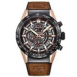 H-sbiao Montre chronographe étanche Grant Quartz pour Homme en Acier Inoxydable et en Cuir...