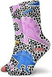 DLing Novità Divertenti calzini da uomo Crazy Dinosaurs 80s rosa blu rosso stampato sport calzini sportivi calzini da regalo personalizzati lunghi 30 cm