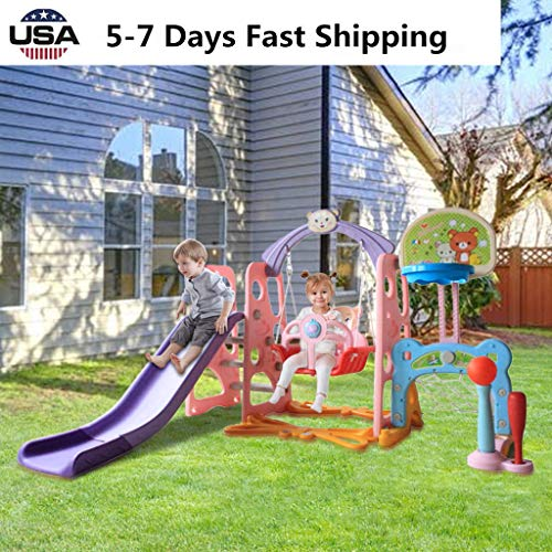 UAMSISTE US Fast Shipment Toddler Climber and Swing Set,3 in 1 Mountaineering Slide & Swing Playset w/Basketball Hoop, Best Gift Indoor and Backyard Baskets Play Set for 3+Years Old Kids (E)