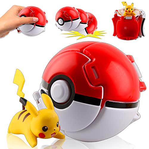 Esportic Poké Bolas Pokéball, Figuritas Ball, Ball figuritas Poké Bolas Pokéball, Poké Bolas, Bola de Pokémon con Pokemon y Pokemon con Figuras Pokemon Toys para niños (Pikachu)
