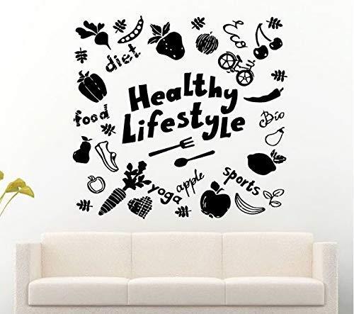 Estilo De Vida Saludable Comida Deporte Vida Todas Las Cosas Vinilo Extraíble Pegatinas De Pared Para Sala De Estar Home Art Decals Poster Sticker 46X42Cm
