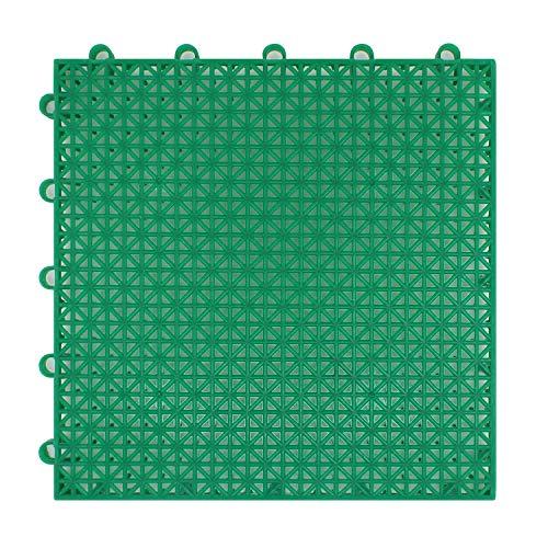Suelo flotante plastico para jardín exterior deportes Baloncesto Piscina 25x25x1.25cm 16 piezas / 1m2 - suelo plastico rejilla (Baldosas 25x25cm 16 piezas/1m2 verde)