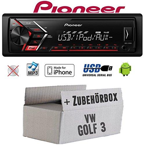 Autoradio Radio Pioneer MVH-S110UI - | MP3 | USB | Android | iPhone Einbauzubehör - Einbauset für VW Golf 3 III - JUST SOUND best choice for caraudio