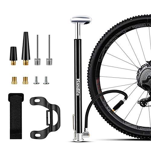 Pompa rowerowa, przenośna pompka podłogowa ze stopu aluminium, pasuje do zaworu Presta i Schrader, mini pompka rowerowa 160 PSI z wielofunkcyjną igłą, super szybkie pompowanie opon zgodnych z rowerami