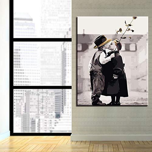 Rahmenloses Gemälde Ölgemälde für Mädchen und Jungen, die Ölgemälde nach Zahlen auf Leinwand küssen ArtCGQ8396 30X37cm
