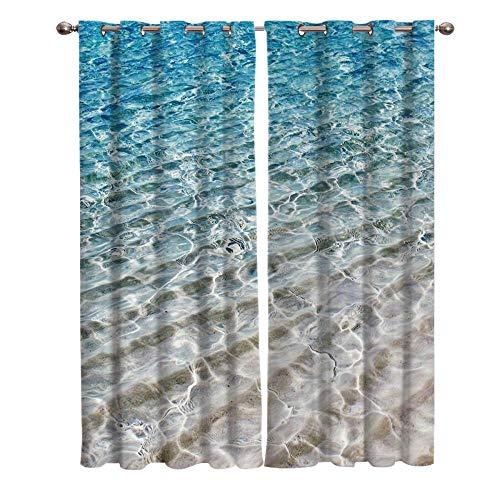 BZCBX Cortinas Opacas Agua Azul 3D Ojetes con Estampado Suaves Evitar Rayos UV la Luz Proteccion Privacidad con Ojales para Salon Cocina Habitacion, 2 Piezas 91.5(W) x214(H) cm