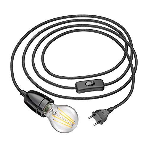 ledscom.de Cable textil LEHA II enchufe interruptor E27 porcelana-portalámpara negro 3m LED bombilla blanca 3-Stufen oscurecimiento: max. 800lm
