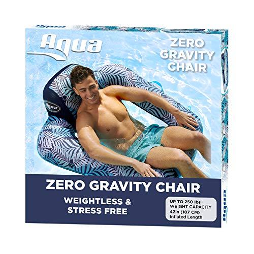 AQUA Zero Gravity Pool Chair Lounge, Inflatable Pool Chair, Adult Pool Float, Heavy Duty, Blue Fern
