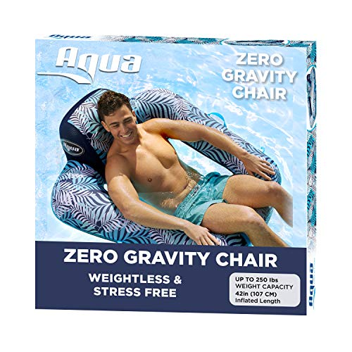 Aqua Zero Gravity Pool Chair Lounge, Inflatable Pool Chair, Adult Pool Float, Heavy Duty, Blue Fern