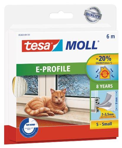 tesamoll E-Profil Gummidichtung - Selbstklebende Dichtung zum Isolieren von Spalten an Fenstern und Türen - Weiß - 6 m x 9 mm x 4 mm