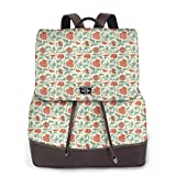 Women's Leather Backpack,Flower Pattern with Eastern Leaves and Flowers Ancient Classical Design,School Travel Girls Ladies Rucksack