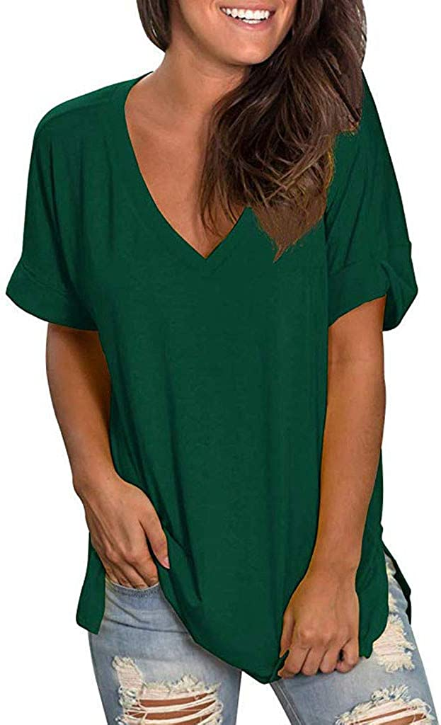 AODONG Womens Tops Women's Short Sleeve Cotton Linen Shirt Floral Graphic Tops Casual Summer Boatneck Tee Shirts Comfy Plus Size Blouses Green