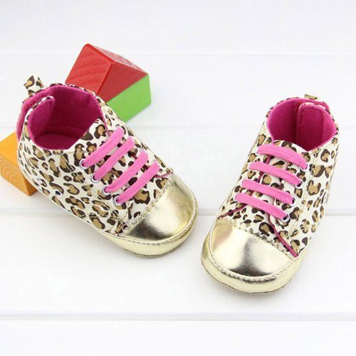 VANKER Chaussures de Princesse Mignon Léopard Style Gold 13cm
