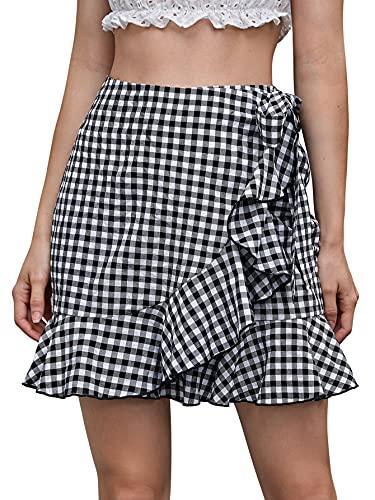 SheIn Women's Wrap Tie Side Ruffle Trim High Waist Plaid Short Mini Skirt Black Plaid Medium