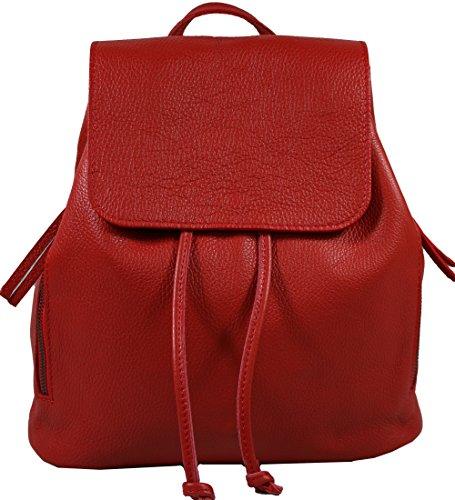 Ital. Echtleder Damen Rucksack Leichter Tagesrucksack Daypack Lederrucksack Damenrucksack versch. Farben erhältlich(Rot)