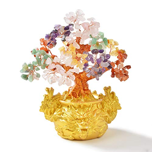 KALIFANO Natural Tree of Life with Dragon Base (225 Gemstone Count) Chakra Crystal Tree - Bonsai Feng Shui Money Tree for Healing and Luck - 8' (Family Owned/Operated)