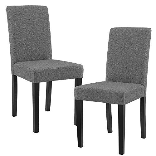 [en.casa] Set de 2 sillas de Comedor Elegantes tapizadas de Tela Gris - 90 x 42cm sillas de diseño