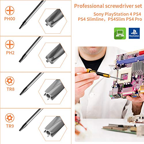 XBRdepot TR9 TR8 Torx Security Screwdrivers for PS4, Repair Tool Kit Phillips PH00 PH1 for Sony Playstation PS4, PS Vita, PS3, PS4 Slim, PS4 Pro,PSP, Xbox (Screwdrivers Kits for PS4)