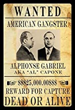 Stevenca Metal Tin Sign Wanted Alphonse Gabriel Al Capone Vintage Look Custom Vintage Retro Aluminum Sign for Wall Decor 8x12 Inch